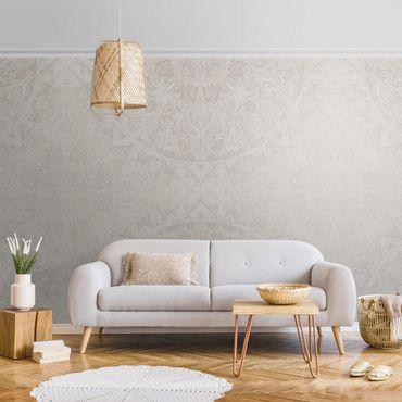 Metallic Tapete  - Mandala Aquarell Ornament Muster beige