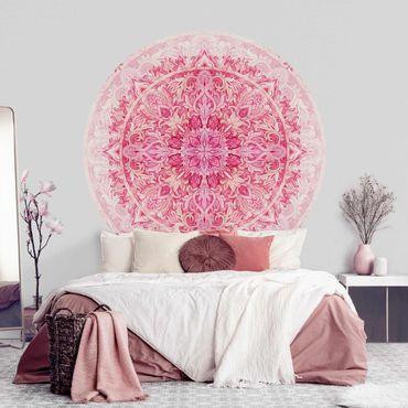 Runde Tapete selbstklebend - Mandala Aquarell Ornament Muster pink