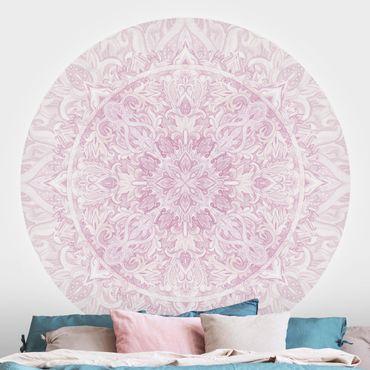 Runde Tapete selbstklebend - Mandala Aquarell Ornament rosa