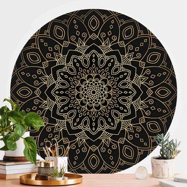 Runde Tapete selbstklebend - Mandala Blüte Muster gold schwarz
