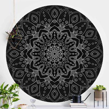 Runde Tapete selbstklebend - Mandala Blüte Muster silber schwarz