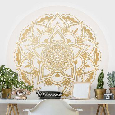 Runde Tapete selbstklebend - Mandala Blume gold weiß
