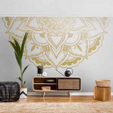 Metallic Tapete  - Mandala Blume Halbkreis gold weiß