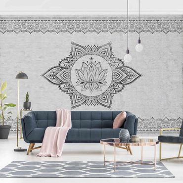 Fototapete - Mandala Lotus Betonoptik