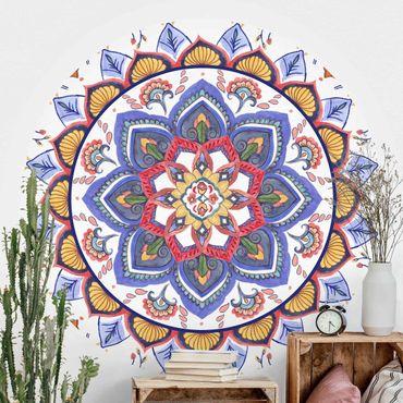 Runde Tapete selbstklebend - Mandala Meditation Chakra