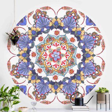 Runde Tapete selbstklebend - Mandala Meditation Hartha