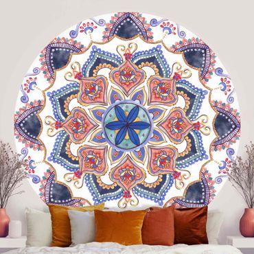 Runde Tapete selbstklebend - Mandala Meditation Mantra