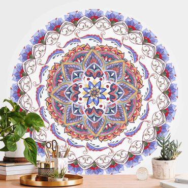 Runde Tapete selbstklebend - Mandala Meditation Pranayama