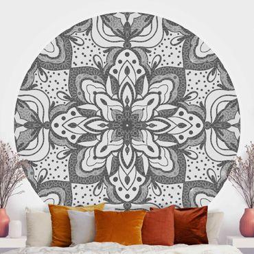 Runde Tapete selbstklebend - Mandala mit Raster und Punkten in Grau