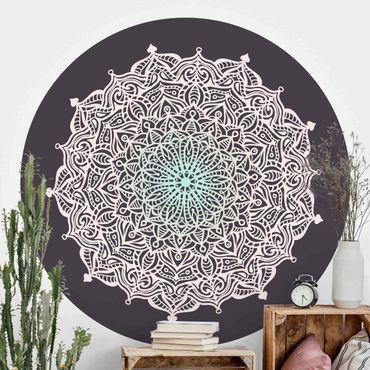Runde Tapete selbstklebend - Mandala Ornament in Rose und Blau