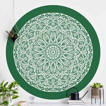 Runde Tapete selbstklebend - Mandala Ornament vor Grün