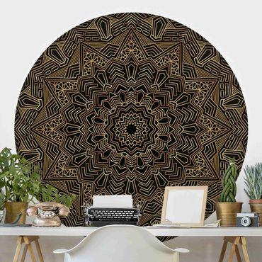 Runde Tapete selbstklebend - Mandala Stern Muster gold schwarz