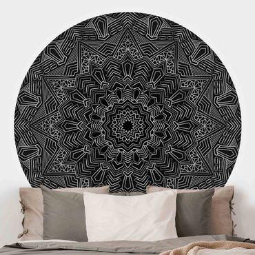 Runde Tapete selbstklebend - Mandala Stern Muster silber schwarz