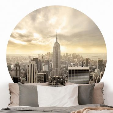 Runde Tapete selbstklebend - Manhattan Dawn