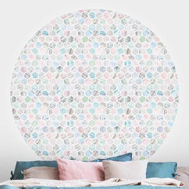 Runde Tapete selbstklebend - Marmor Hexagone Rose und Meerblau