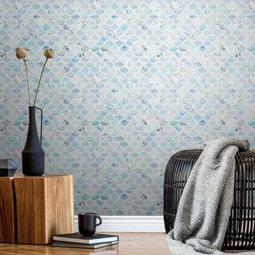 Metallic Tapete  - Marmor Muster Meerblau