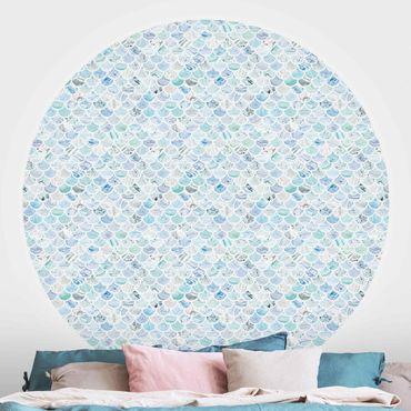 Runde Tapete selbstklebend - Marmor Muster Meerblau