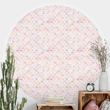 Runde Tapete selbstklebend - Marmor Muster Rosé