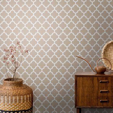 Metallic Tapete  - Marokkanisches Muster mit Ornamenten vor Beige