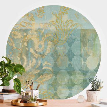 Runde Tapete selbstklebend - Marrokanische Collage in Gold und Türkis