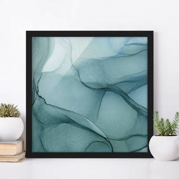 Bild mit Rahmen - Melierte Blautanne - Quadrat