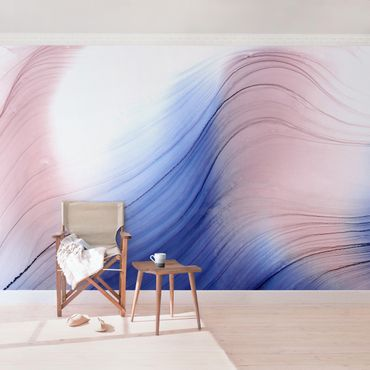 Fototapete - Melierter Farbtanz Blau mit Rosa