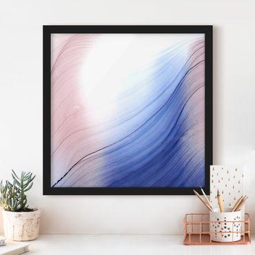 Bild mit Rahmen - Melierter Farbtanz Blau mit Rosa - Quadrat