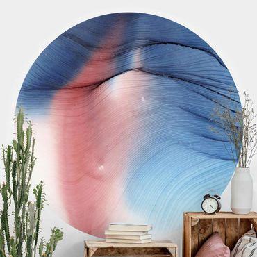 Runde Tapete selbstklebend - Melierter Farbtanz in Blau mit Rot