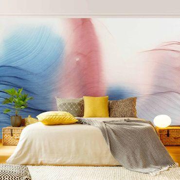 Fototapete - Melierter Farbtanz in Blau mit Rot