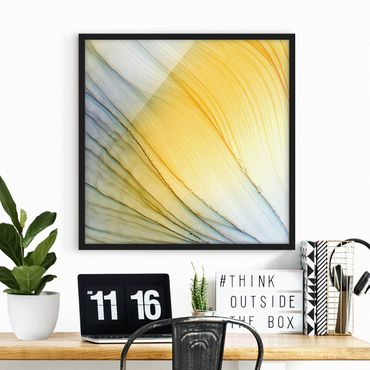 Bild mit Rahmen - Melierter Farbtanz in Honig - Quadrat
