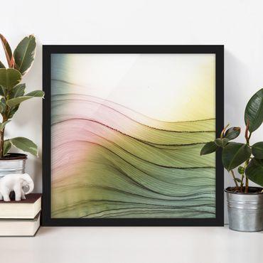 Bild mit Rahmen - Melierter Farbtanz Rosa Gelb mit Türkis - Quadrat