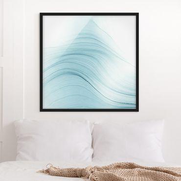 Bild mit Rahmen - Melierter Hauch von Blau - Quadrat