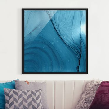 Bild mit Rahmen - Meliertes Blau - Quadrat