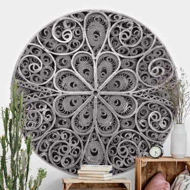 Runde Tapete selbstklebend - Metall Ornamentik Mandala in Silber