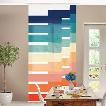 Schiebegardinen Set - Moderne Regenbogen Geometrie - Flächenvorhang