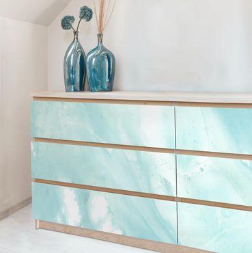 Möbelfolie - Emulsion in weiß und türkis I