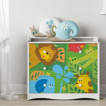 Möbelfolie Kinderzimmer - Süße Zootiere Set - Elefant Löwe Giraffe Krokodil