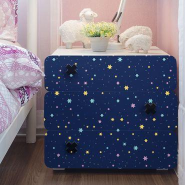 Möbelfolie - Nachthimmel Kindermuster mit bunten Sternen - Möbel Klebefolie