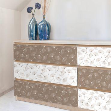 Möbelfolie Pusteblume - Pusteblumenmuster in Mocca und Polarweiss