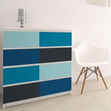 Möbelfolie - Tiefe See 4 Farben Set - Pastelltürkis Petrol Preussisch Blau Mondgrau