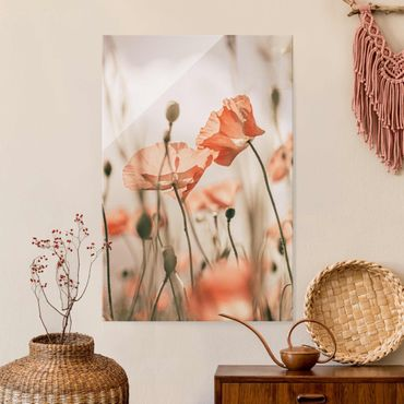 Glasbild - Mohnblüten im Sommerwind - Hochformat