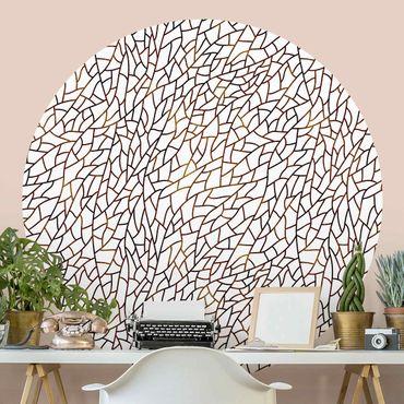 Runde Tapete selbstklebend - Mosaiklinien Muster Braun Gold