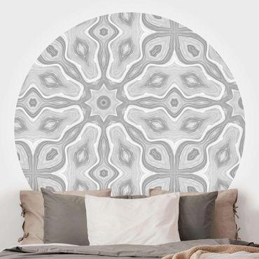 Runde Tapete selbstklebend - Muster in Grau und Silber mit Sternen