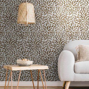 Metallic Tapete  - Natürliches Muster Blumen in Braun