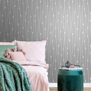 Metallic Tapete  - Natürliches Muster mit Halbkreisen vor Grau