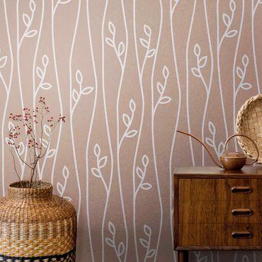 Metallic Tapete  - Natürliches Muster Pflanzenlinien vor Beige Rosé