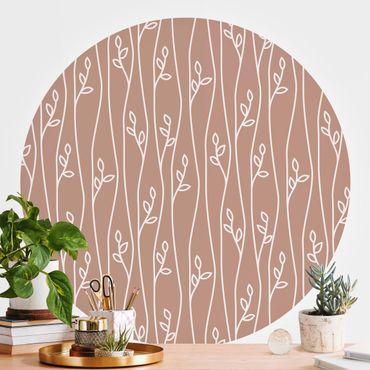 Runde Tapete selbstklebend - Natürliches Muster Pflanzenlinien vor Beige Rosé