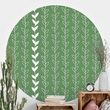 Runde Tapete selbstklebend - Natürliches Muster Rankenlinien auf Grün