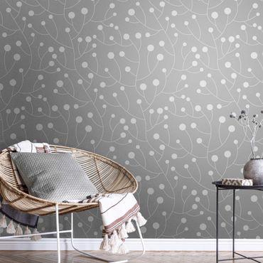 Metallic Tapete  - Natürliches Muster Wachstum mit Punkten auf Grau