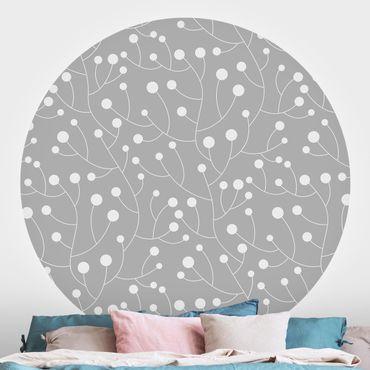 Runde Tapete selbstklebend - Natürliches Muster Wachstum mit Punkten auf Grau